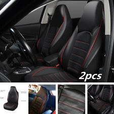 Synthetic Leather Universal Fitment Car Front 2 Seat Covers Set Protector Black