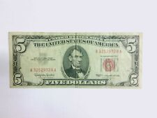 1963 $5 Five Dollar U.S. Note Red Seal - A32529728A