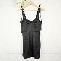For Love & Lemons NWT Women's Black Ruffled-Edge Jackpot Mini Dress Size XS