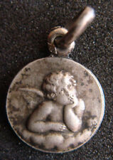 MY GUARDIAN ANGEL OLD SILVER BEAUTIFUL DETAILED SMALL MEDAL PENDANT BY JB