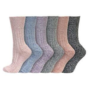 Ladies 3/6 Pairs Soft Acrylic NON-ELASTIC Short Thermal Boot Socks UK 4-8 PASTEL