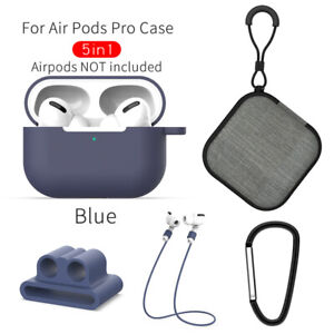 Strap Holder & Silicone Case Cover For Apple AirPods Pro Accessories Kits 5 in1