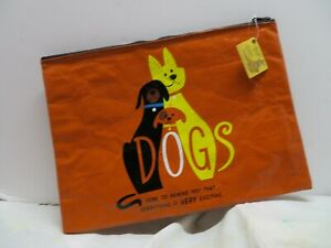 Blue Q Dogs Recycled Material Unique Large/Jumbo Zipper Pouch Tote Bag Humorous