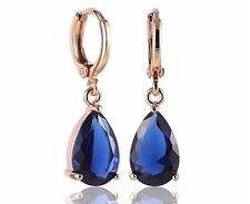 Yellow gold finish Teardrop blue sapphire droplet earrings