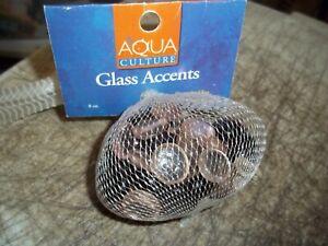 BNIP AQUA CULTURE GLASS ACCENTS DECORATIVE FOR AQUARIUMS 8 OZ. BAG BLACK CLEAR