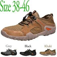Mens Casual Mesh Water Shoes Breathable Summer Hiking Lock Lace Sneakers Outdoor