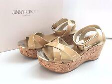 New JIMMY CHOO Nude Patent LEATHER WEDGE Platform SANDALS 35Crisscross Heel Shoe