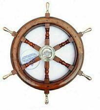 Nautical Brass Handle Ship Wheel Wall Hanging Decor Maritime Wooden Ship Wheel