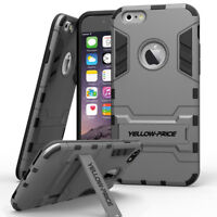 Hybrid Armor Impact Case Cover Stand +Tempered Glass for Apple iPhone 6 6S Plus