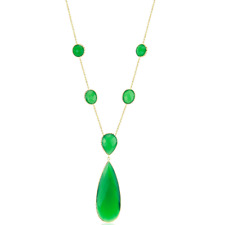 14K Yellow Gold Gemstone Necklace With Green Onyx 18 Inches
