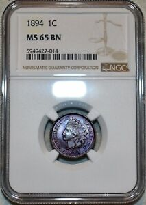 NGC MS-65 BN 1894 Indian Head Cent, Beautifully toned specimen.