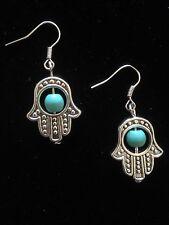 Earrings Turquoise Silver Hand Fatima Hamsa Hippie Bohemian Ethnic Boho A2029