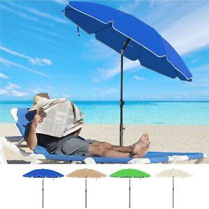 Parasol de jardin Ø1,6m Ombrelle protection UPF 50+ inclinable résistant au vent