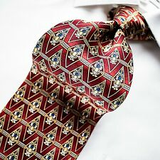 ENRICO VENTURI Made in Italy   Red with Gold and Blue Geometric Tie