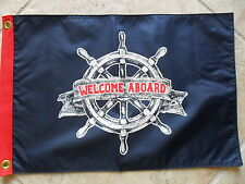 "12""X18"" NAUTICAL:""WELCOME ABOARD"" FLAG DBL SIDED NYLON BOAT/YACHT FLAG USA MADE"