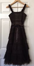 BCBG Maxazria Brown Lace Tiered Occasion Prom Dress Size 0 XS