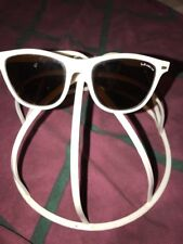 Vintage BOLLE IREX 100 White frame SUNGLASSES 1980-90s Square