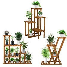 Multi Tier Wooden Flower Plant Display Stand Wood Shelf Storage Rack Indoor Home