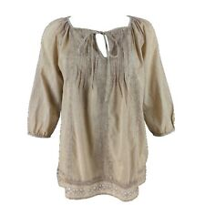 SOLITAIRE Pure Indian Cotton Taupe Boho Broderie Anglaise Peasant Blouse M