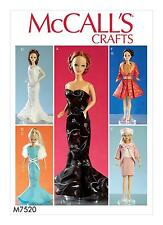 "McCalls SEWING PATTERN M7520 11.5"" Doll Clothes- Gowns,Stole,Dresses,Coats,Hat"
