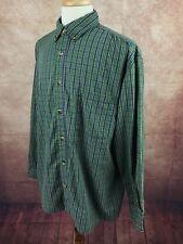 C.E. Schmidt Workwear Button Down Long Sleeve Green Blue Check Shirt Men's XL