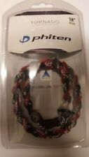 NEW Phiten Tornado Titanium Necklace Black/Maroon - 18 Inch