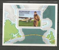 IVORY COAST- 1977 History of Flying - CHARLES LINDBERGH  - CTO MINIATURE. SHEET.