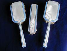 More details for solid silver & guilloche enamel art deco dressing table brush set birmingham