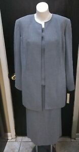 Amanda Smith Womens Suit Sz 18 Gray 3 Piece Skirt Jacket Top Blouse  Rt $185.00