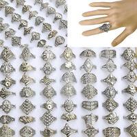 20 STK Vintage Großhandel Schmuck Bulk Gemischten Stil Tibet Silber Fingerringe
