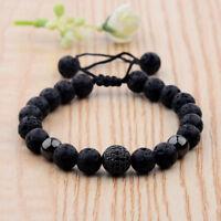 Charm Lava Stone Zircon Micro Pave Black Round Beaded Macrame Bracelets Gift