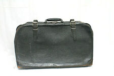 Vintage Unbranded Black Textured Leather Hard case Suitcase Luggage