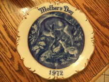 "1972 Mothers Day Plate by Dresden.  Made in West Germany. 8 3/8"" Doe and Fawn"