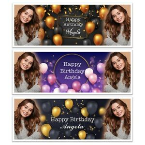 PERSONALISED ADD A PHOTO HAPPY BIRTHDAY NAME BANNERS WALL DECORATION GOLD BLACK