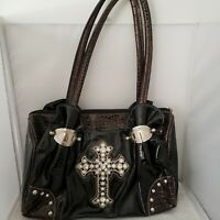 Hananel Brown and Black Handbag Purse Crystal Cross Faux Reptile Bling 12x9