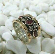 925 STERLING SILVER TURKISH JEWELRY RED RUBY LADY BAND RING