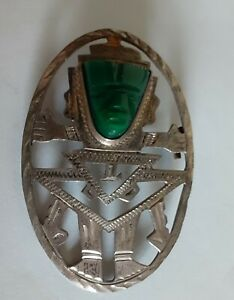 Vintage HECHO EN MEXICO 925 Sterling Silver CARVED WARRIOR Brooch Pin Pendant
