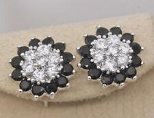 18K White Gold Filled - SunFlower Black Onyx Topaz Zircon Wedding Stud Earrings