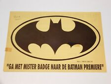 BATMAN MISTER BADGE CONTEST FORM 1989 THE MOVIE COMPETITION PROMO HOLLAND