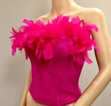 La Perla Ritmo Hot Pink Bustier with Feathers - Italy  Size 40 *
