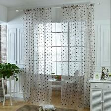 100*200cm Brown Sheer Panel Embroidered Tulle Curtain with Bird Nest Pattern
