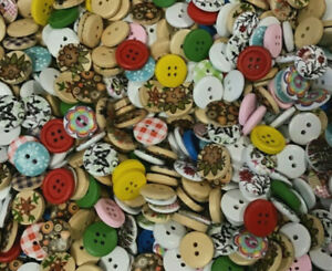 5/8 inch Buttons Large Assortment of wood buttons 15mm round totally mixed