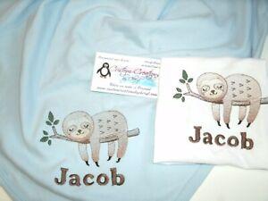 Sloth in tree Personalized Baby Infant Blanket & Bib Set