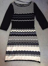 NINE WEST BLACK/CREAM & GREY ZIG ZAG PATTERN KNITTED DRESS WITH A-LINE SKIRT - S