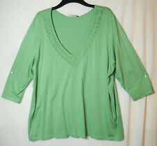 MINT GREEN LADIES CASUAL TOP BLOUSE STRETCH V-NECK SIZE 26 EVANS JERSEY