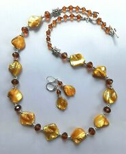 Canary Yellow Shell Nuggets Faceted Crystal necklace set Sp Handcrafted