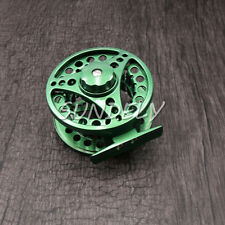 GREEN ALUMINUM FLY FISHING REEL 5/6 85MM LEFT OR RIGHT HAND RETREIVE