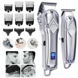 Limural Mens Hair Clippers+T-Blade Trimmer Kit Cordless Shaver Beard Barber Set