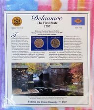 Delaware Postal Commemorative Soc. State Coin and Stamp Panel Uncirculated