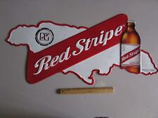 "NEW 35"" Red Stripe Jamaica Rare Beer Tin Tacker Sign Bar Country Import Jamaican"